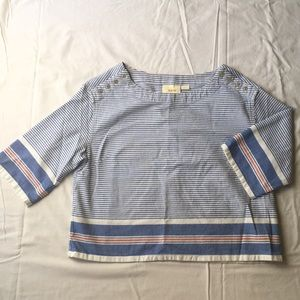 Maeve stripe cropped blouse